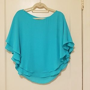 Gianni Bini flutter sleeve turquoise flowy blouse